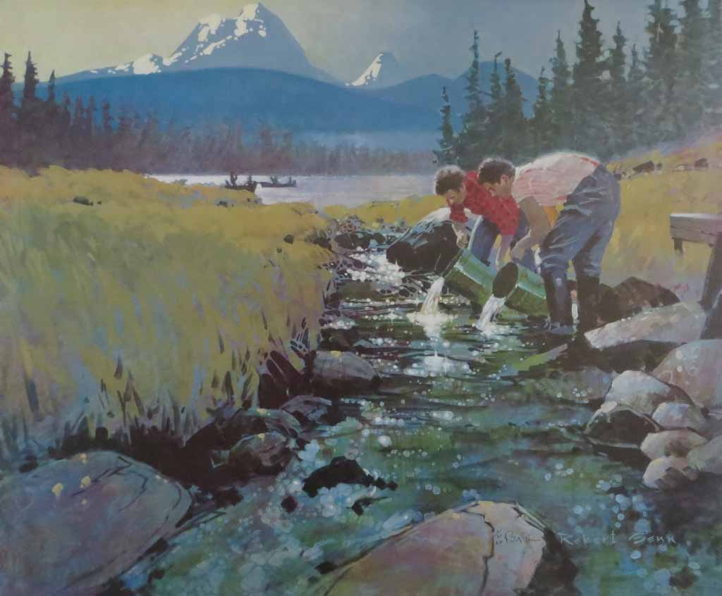 Salmon For Tomorrow by Robert Genn - limited edition of 300, vintage offset lithograph fine art reproduction, signed and numbered AP 1/30 by artist
