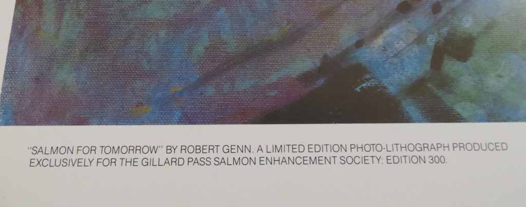 Salmon For Tomorrow by Robert Genn, detail to show edition - limited edition of 300, vintage offset lithograph fine art reproduction, signed and numbered AP 1/30 by artist