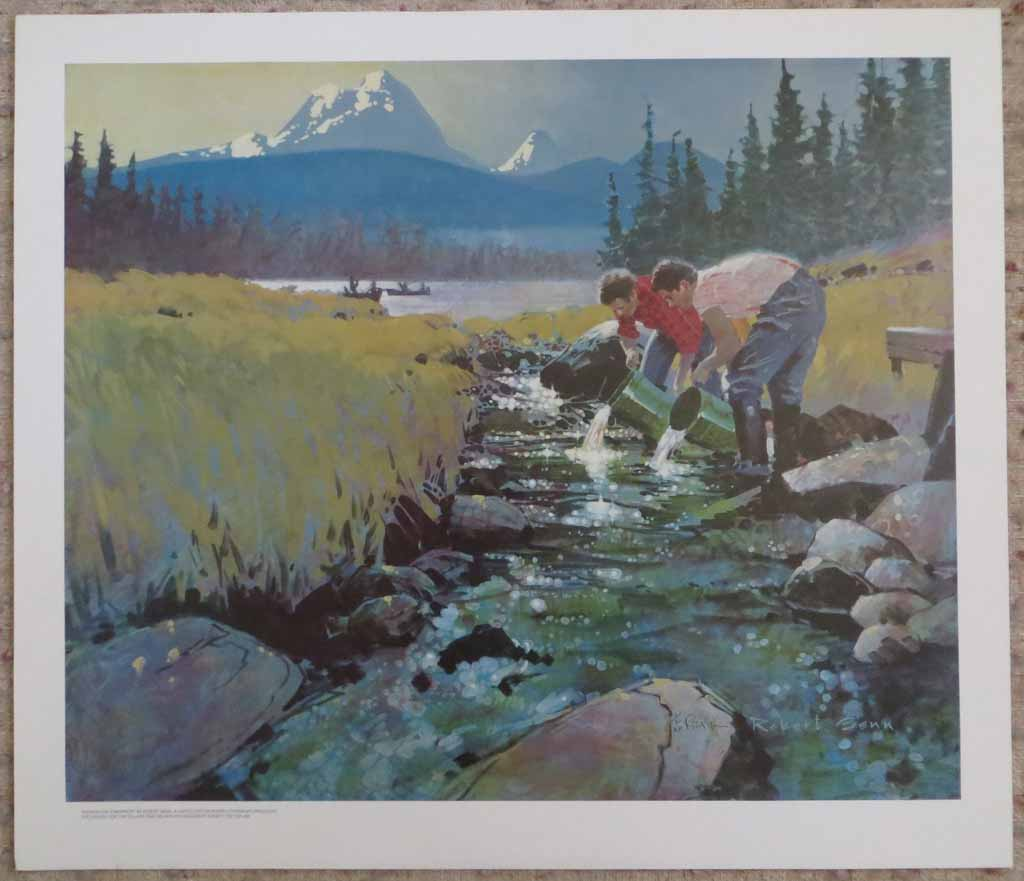 Salmon For Tomorrow by Robert Genn, shown with full margins - limited edition of 300, vintage offset lithograph fine art reproduction, signed and numbered AP 1/30 by artist