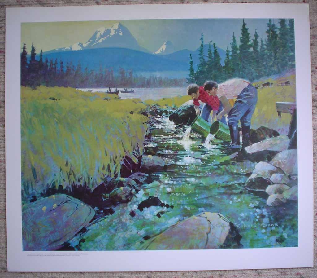 Salmon For Tomorrow by Robert Genn, shown with full margins - limited edition of 300, vintage offset lithograph fine art reproduction, signed and numbered AP 3/30 by artist