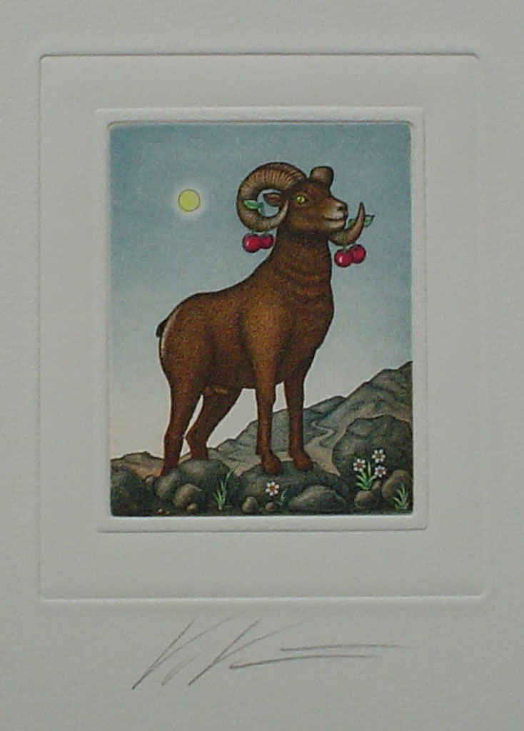 Aries/ Widder by Volker Kühn (ie. Volker Kuehn) - German Zodiac original hand-coloured etching signed by artist