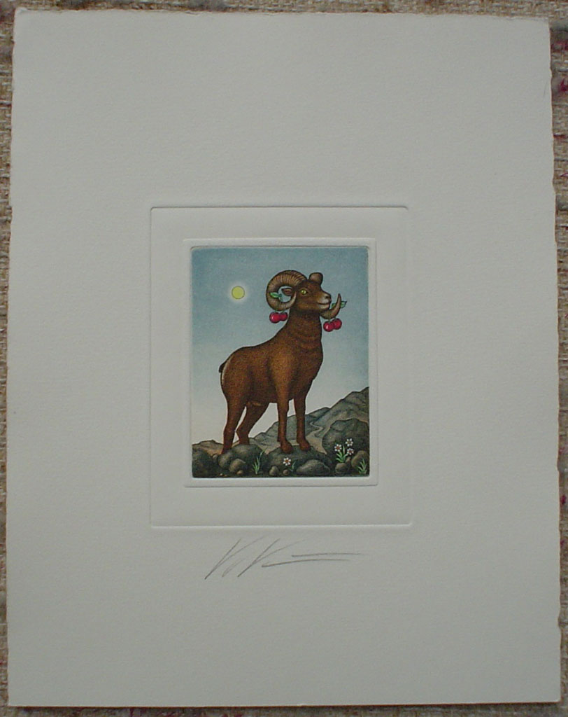 Aries/ Widder by Volker Kühn (ie. Volker Kuehn), shown with full margins - German Zodiac original hand-coloured etching signed by artist