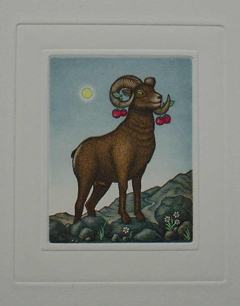 Aries/ Widder by Volker Kühn (ie. Volker Kuehn) - German Zodiac original hand-coloured etching not signed by artist
