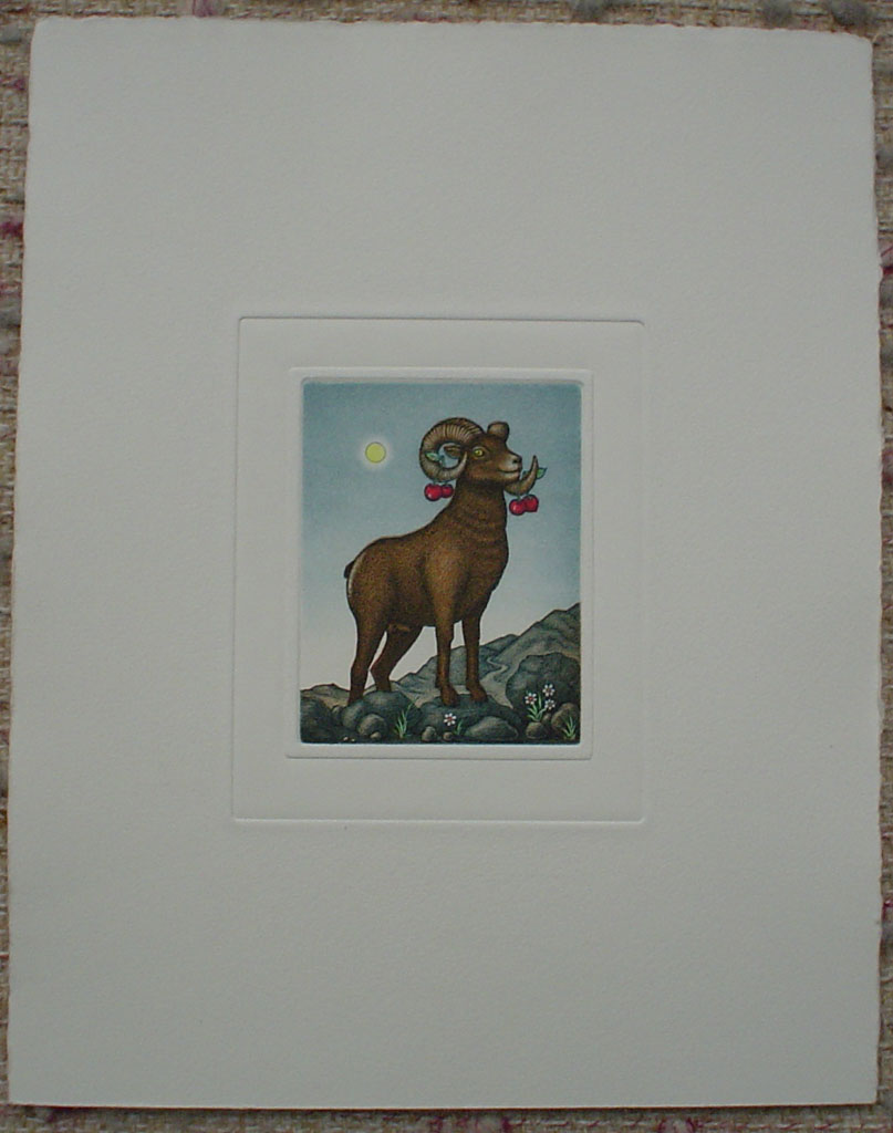 Aries/ Widder by Volker Kühn (ie. Volker Kuehn), shown with full margins - German Zodiac original hand-coloured etching not signed by artist
