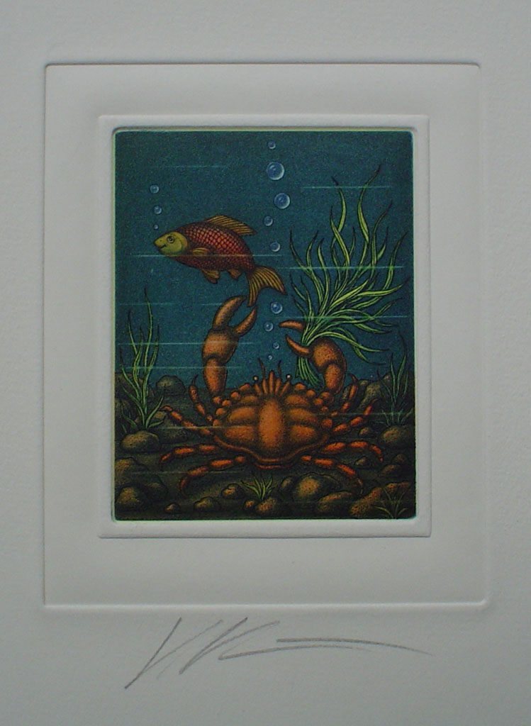 Cancer/ Krebs by Volker Kühn (ie. Volker Kuehn) - German Zodiac original hand-coloured etching signed by artist