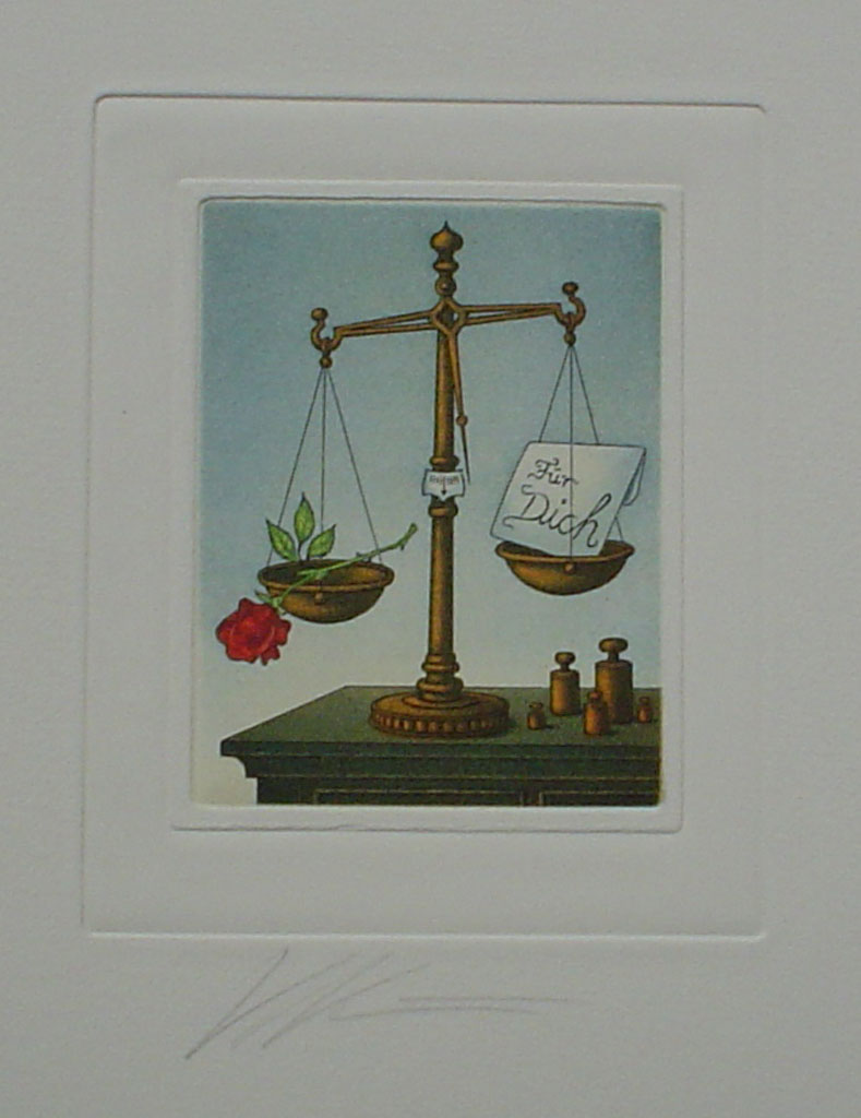 Libra/ Waage by Volker Kühn (ie. Volker Kuehn) - German Zodiac original hand-coloured etching signed by artist