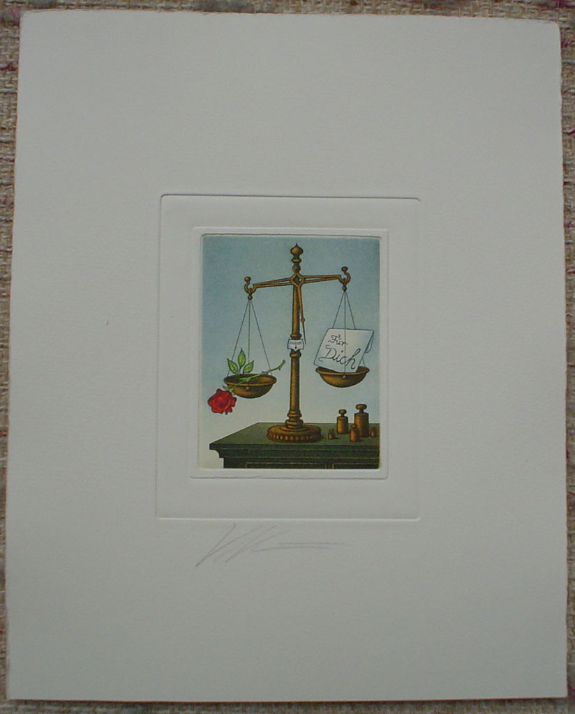 Libra/ Waage by Volker Kuehn, shown with full margins - German Zodiac original hand-coloured etching signed by artist