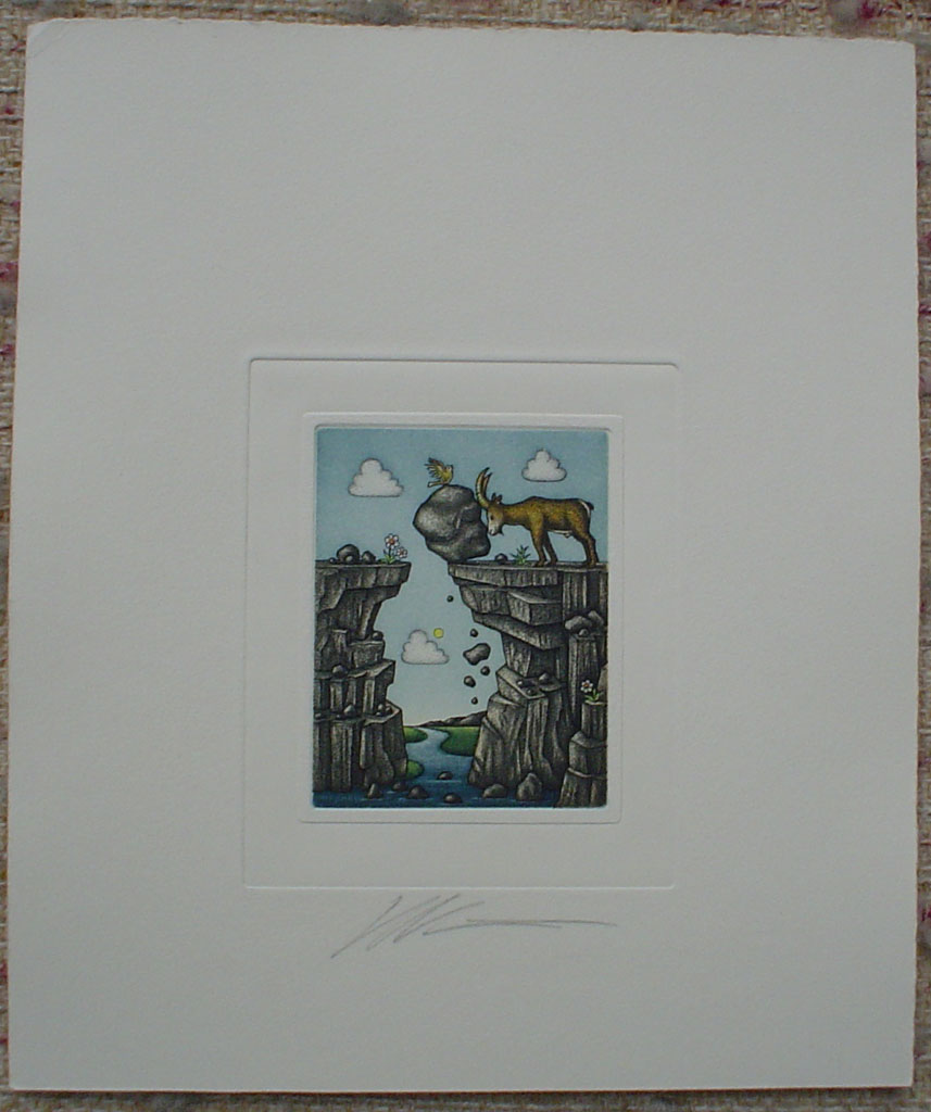 Capricorn/ Steinbock by Volker Kühn (ie. Volker Kuehn), shown with full margins - German Zodiac original hand-coloured etching signed by artist