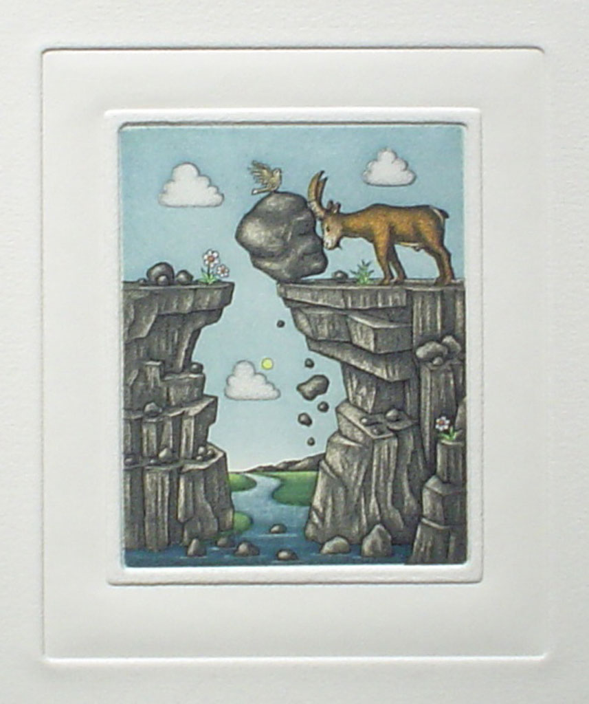 Capricorn/ Steinbock by Volker Kühn (ie. Volker Kuehn) - German Zodiac original hand-coloured etching not signed by artist