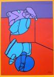 "Untitled Purple Blue On Red Abstract (untitled) by Valerio Adami - 1975 original serigraph/silkscreen, signed in plate, one of 13 different serigraphs from ""Künstlerkalendar '75"" , an oversized calendar featuring original serigraphs from 13 European artists, © 1975 Verlag F. Bruckmann KG, München (Bruckmann Publishing, Munich)"