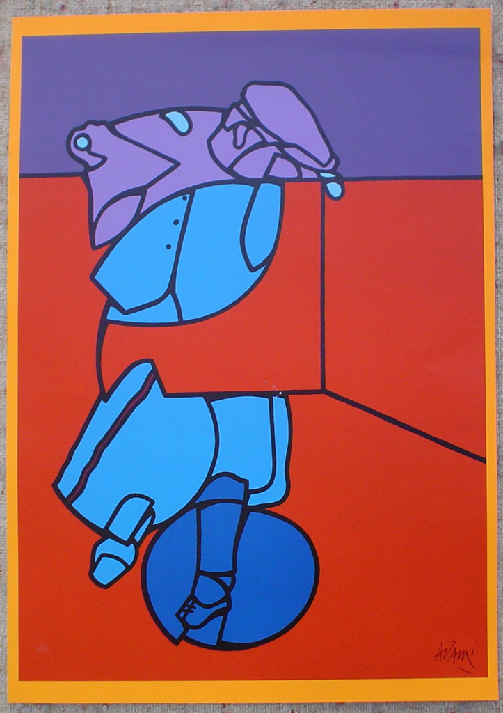 "Purple Blue On Red Abstract (untitled) by Valerio Adami, shown with full margins - 1975 original serigraph/silkscreen, signed in plate, one of 13 different serigraphs from ""Künstlerkalendar '75"" , an oversized calendar featuring original serigraphs from 13 European artists, © 1975 Verlag F. Bruckmann KG, München (Bruckmann Publishing, Munich)"