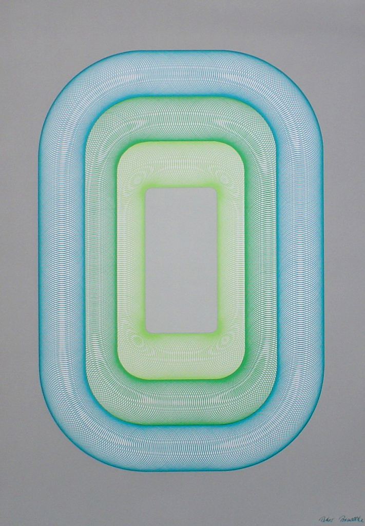 "Blue Green Oval Spirals (untitled) by Peter Bradtke - 1975 original serigraph/silkscreen, signed in plate, one of 13 different serigraphs from ""Künstlerkalendar '75"" , an oversized calendar featuring original serigraphs from 13 European artists, © 1975 Verlag F. Bruckmann KG, München (Bruckmann Publishing, Munich)"