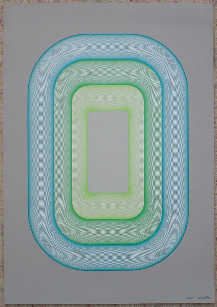"Blue Green Oval Spirals (untitled) by Peter Bradtke, shown with full margins - 1975 original serigraph/silkscreen, signed in plate, one of 13 different serigraphs from ""Künstlerkalendar '75"" , an oversized calendar featuring original serigraphs from 13 European artists, © 1975 Verlag F. Bruckmann KG, München (Bruckmann Publishing, Munich)"