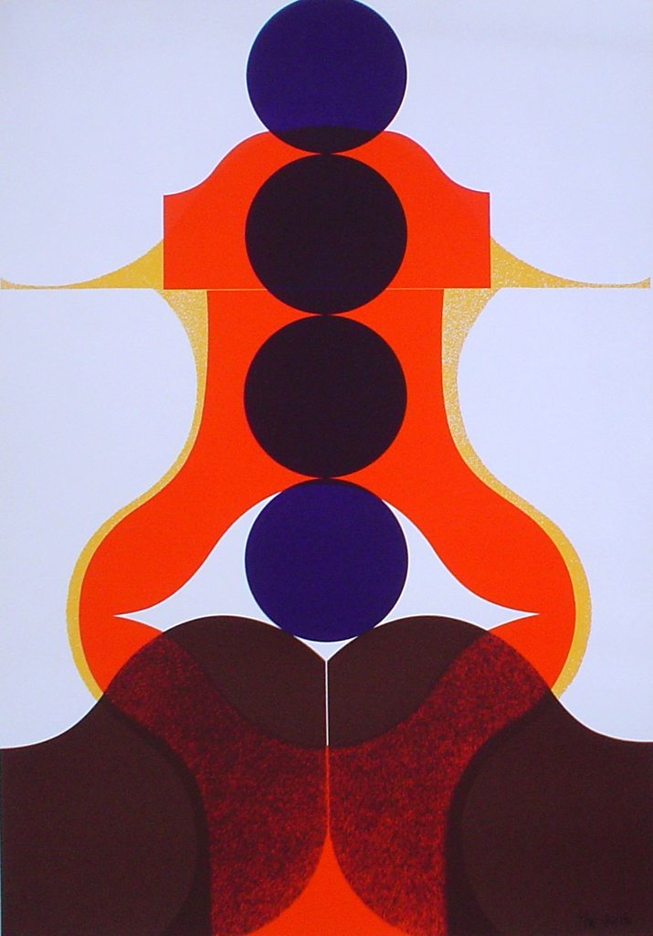 "Four Purple Circles Abstract (untitled) by Theo Braun - 1975 original serigraph/silkscreen, signed in plate, one of 13 different serigraphs from ""Künstlerkalendar '75"" , an oversized calendar featuring original serigraphs from 13 European artists, © 1975 Verlag F. Bruckmann KG, München (Bruckmann Publishing, Munich)"