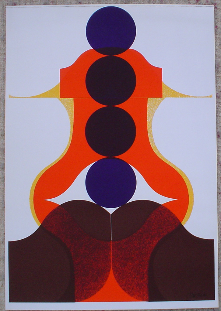 "Four Purple Circles Abstract (untitled) by Theo Braun, shown with full margins - 1975 original serigraph/silkscreen, signed in plate, one of 13 different serigraphs from ""Künstlerkalendar '75"" , an oversized calendar featuring original serigraphs from 13 European artists, © 1975 Verlag F. Bruckmann KG, München (Bruckmann Publishing, Munich)"