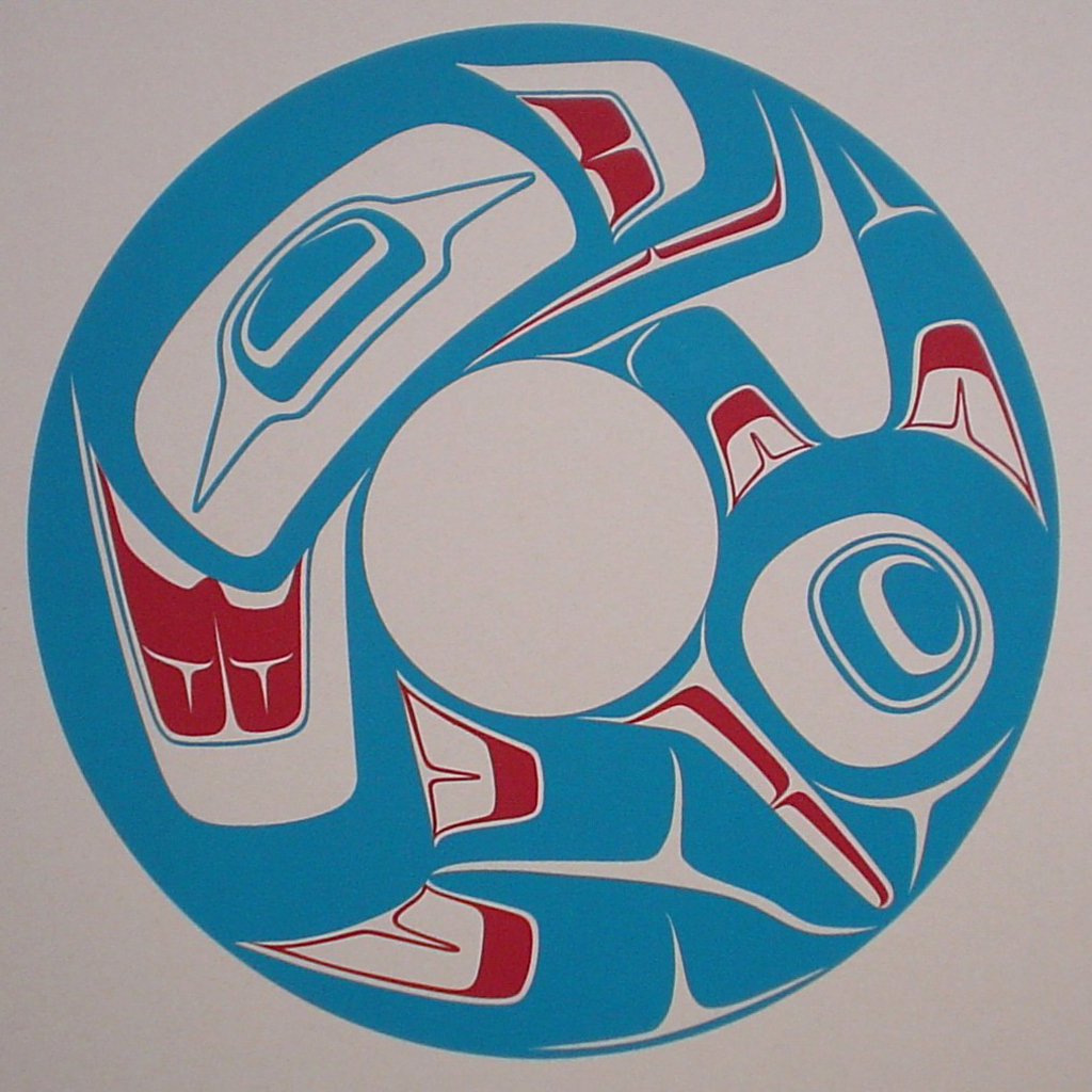 Sea Monster by Robert Davidson, Haida Northwest Coast Canadian Native - vintage 1976 original print limited edition serigraph/silkscreen - under image in pencil by artist: signed Robert Davidson, dated '76, titled Sea Monster, numbered 191/208 - sheet size 14.5x14.5 inches/ 37x37 cm (KerrisdaleGallery.com)