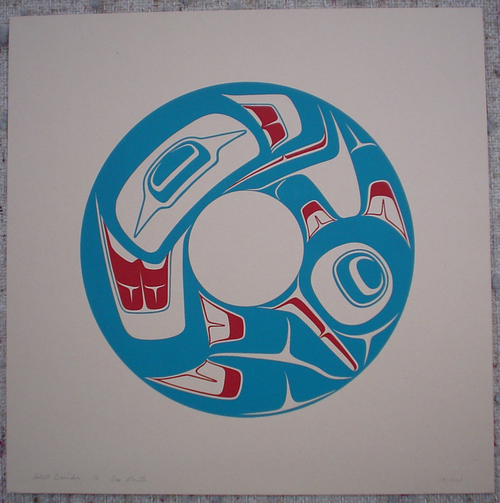 Sea Monster by Robert Davidson, Haida, Pacific Northwest Coast Canadian Native, art print shown with full margins - vintage 1976 original print limited edition serigraph/silkscreen - under image in pencil by artist: signed Robert Davidson, dated '76, titled Sea Monster, numbered 191/208 - sheet size 14.5x14.5 inches/ 37x37 cm (KerrisdaleGallery.com)