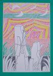 """Green Red Yellow Abstract (untitled) by Roman Haller - 1975 original serigraph/silkscreen, signed in plate, one of 13 different serigraphs from """"Künstlerkalendar '75"""" , an oversized calendar featuring original serigraphs from 13 European artists, © 1975 Verlag F. Bruckmann KG, München (Bruckmann Publishing, Munich)"""