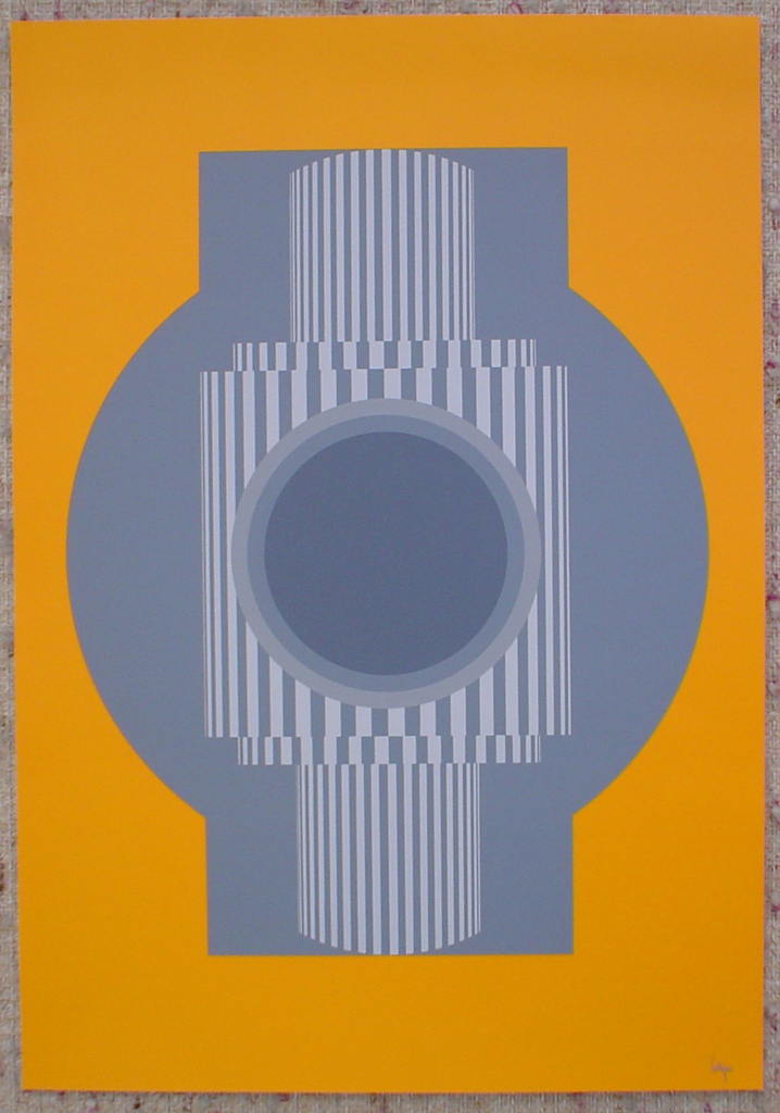 "Gray Yellow Camera Abstract (untitled) by Erich Lethgau, shown with full margins - - 1975 original serigraph/silkscreen, signed in plate, one of 13 different serigraphs from ""Künstlerkalendar '75"" , an oversized calendar featuring original serigraphs from 13 European artists, © 1975 Verlag F. Bruckmann KG, München (Bruckmann Publishing, Munich)"