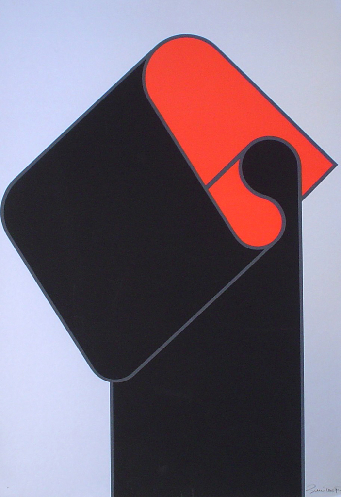 "Red Black On Silver Abstract (untitled) by Bernhard Müller-Feyen - 1975 original serigraph/silkscreen, signed in plate, one of 13 different serigraphs from ""Künstlerkalendar '75"" , an oversized calendar featuring original serigraphs from 13 European artists, © 1975 Verlag F. Bruckmann KG, München (Bruckmann Publishing, Munich)"