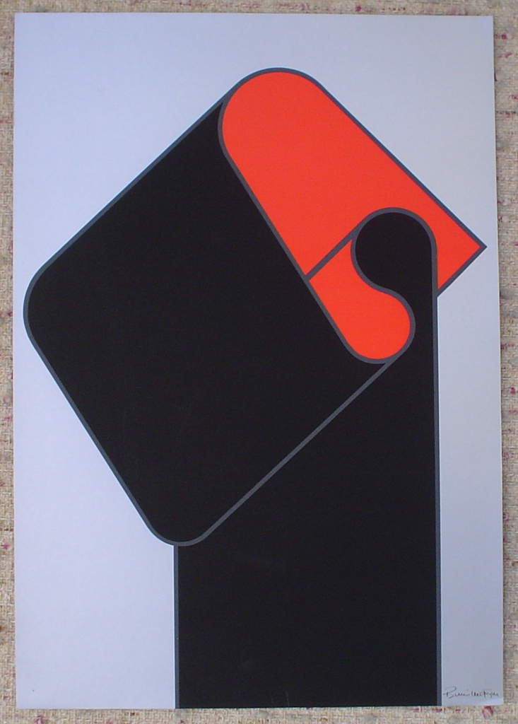 "Red Black On Silver Abstract (untitled) by Bernhard Müller-Feyen, shown with full margins - 1975 original serigraph/silkscreen, signed in plate, one of 13 different serigraphs from ""Künstlerkalendar '75"" , an oversized calendar featuring original serigraphs from 13 European artists, © 1975 Verlag F. Bruckmann KG, München (Bruckmann Publishing, Munich)"