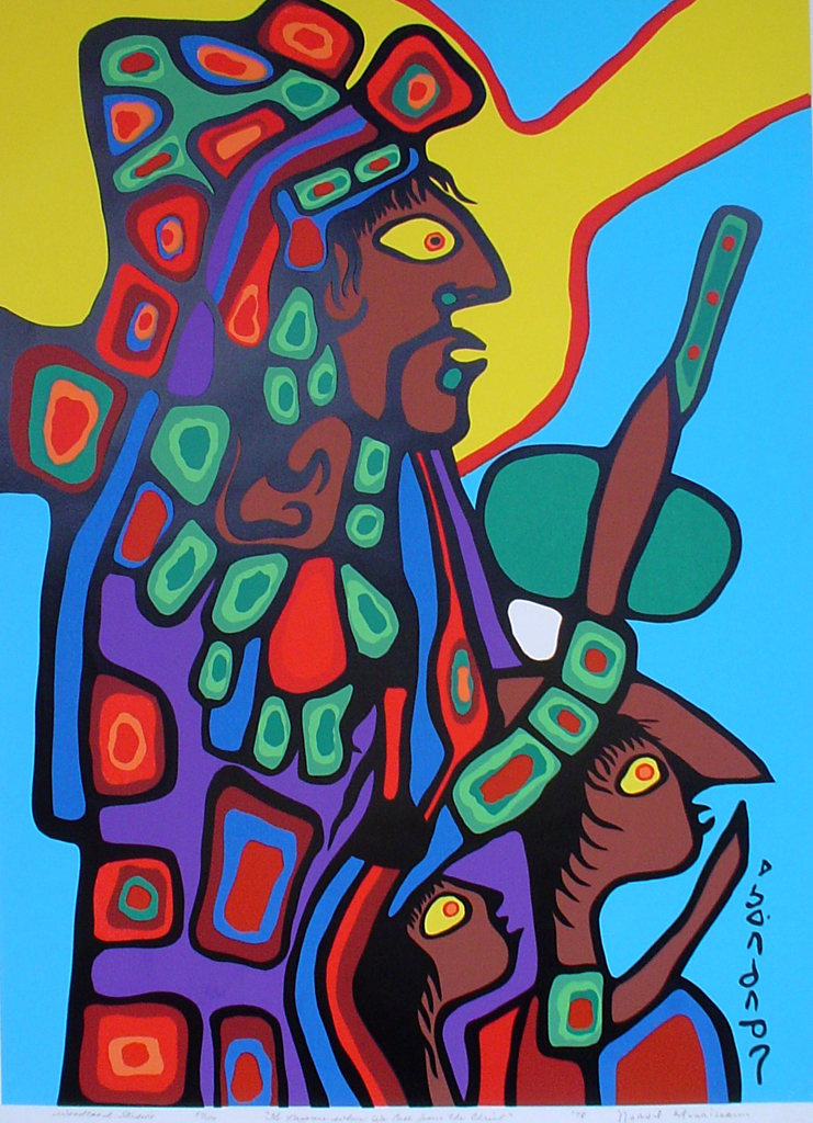 """The Nazarene Whom We Call Jesus The Christ"" by Norval Morrisseau - original print limited edition serigraph/silkscreen - in lower margin, in pencil: Woodland Studios, title, numbered 57/100, signed, dated '78 with circular embossed seal in lower right on rag paper, sheet size 40x26 inches/ 101x66cm (KerrisdaleGallery.com)"