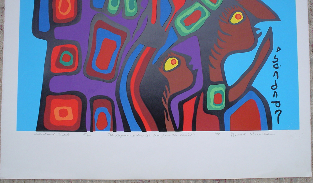 """The Nazarene Whom We Call Jesus The Christ"" by Norval Morrisseau, detail to show hand-written artist information - original print limited edition serigraph/silkscreen - in lower margin, in pencil: Woodland Studios, title, numbered 57/100, signed, dated '78 with circular embossed seal in lower right on rag paper, sheet size 40x26 inches/ 101x66cm (KerrisdaleGallery.com)"