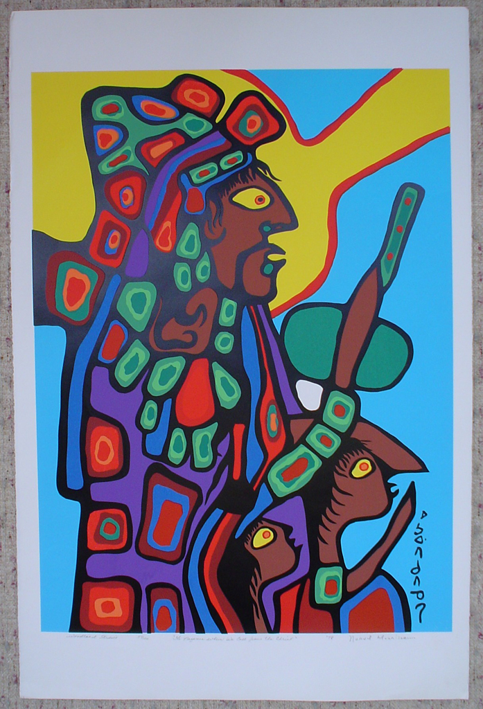 """The Nazarene Whom We Call Jesus The Christ"" by Norval Morrisseau, shown with full margins - original print limited edition serigraph/silkscreen - in lower margin, in pencil: Woodland Studios, title, numbered 57/100, signed, dated '78 with circular embossed seal in lower right on rag paper, sheet size 40x26 inches/ 101x66cm (KerrisdaleGallery.com)"