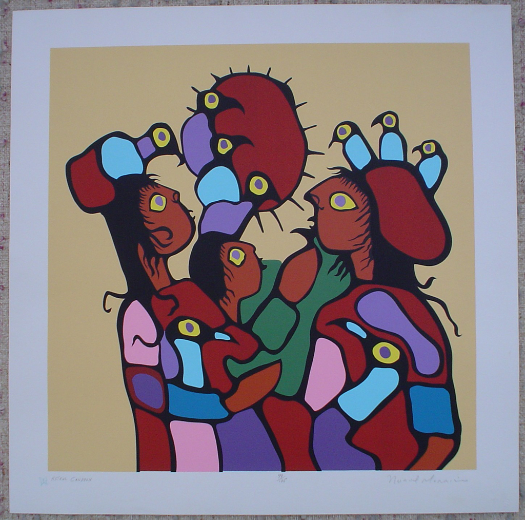 Astral Children by Norval Morrisseau, shown with full margins - original limited edition serigraph/ silkscreen, titled, numbered 99/175 and signed by artist with butterfly remarque under title, sheet size 24x24 inches/ 61x61cm, circa 1977 (KerrisdaleGallery.com)