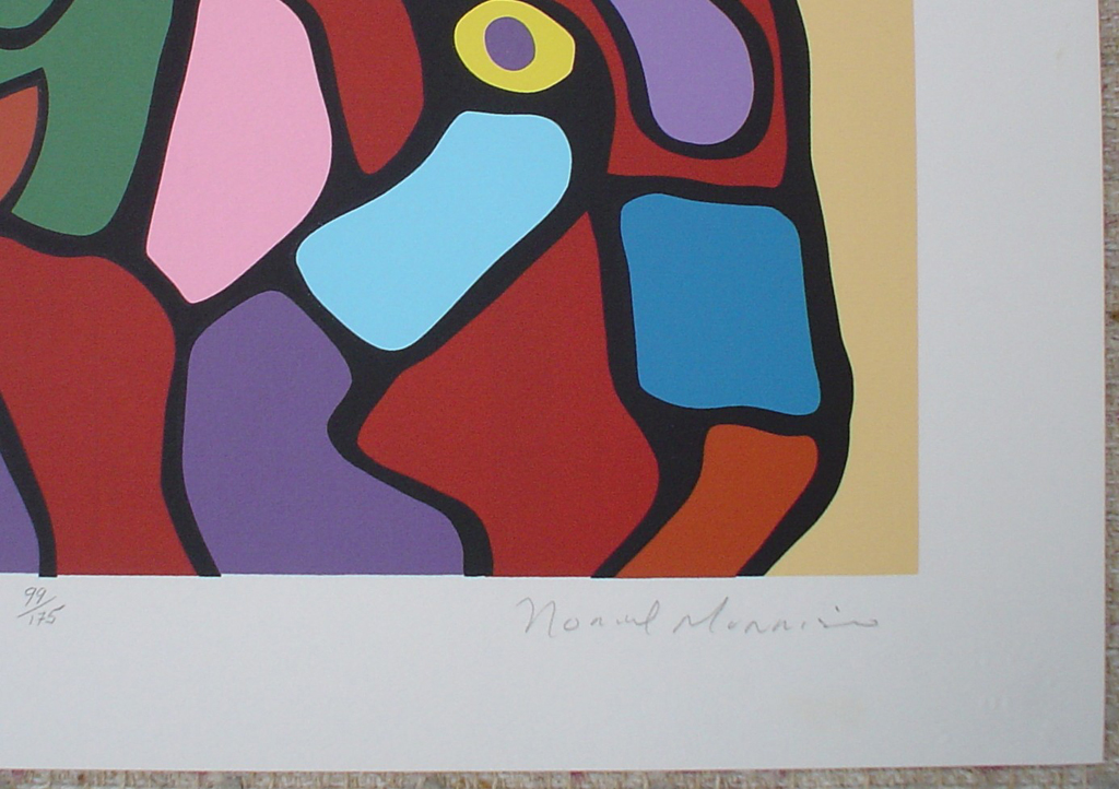 Astral Children by Norval Morrisseau, detail to show artist signature - original limited edition serigraph/silkscreen, titled, numbered 99/175 and signed by artist with butterfly remarque under title, sheet size 24x24 inches/ 61x61cm, circa 1977 (KerrisdaleGallery.com)