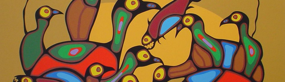The Gathering by Norval Morrisseau - original limited edition serigraph/silkscreen, titled, numbered 465/500 and signed by artist with butterfly remarque under title, sheet size 24x30 inches/ 61x76cm, circa 1980 (KerrisdaleGallery.com)