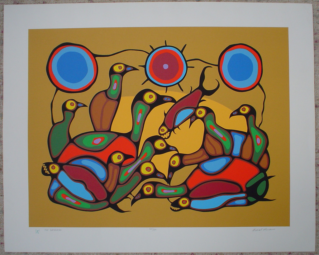 The Gathering by Norval Morrisseau, shown with full margins - original limited edition serigraph/silkscreen, titled, numbered 465/500 and signed by artist with butterfly remarque under title, sheet size 24x30 inches/ 61x76cm, circa 1980 (KerrisdaleGallery.com)