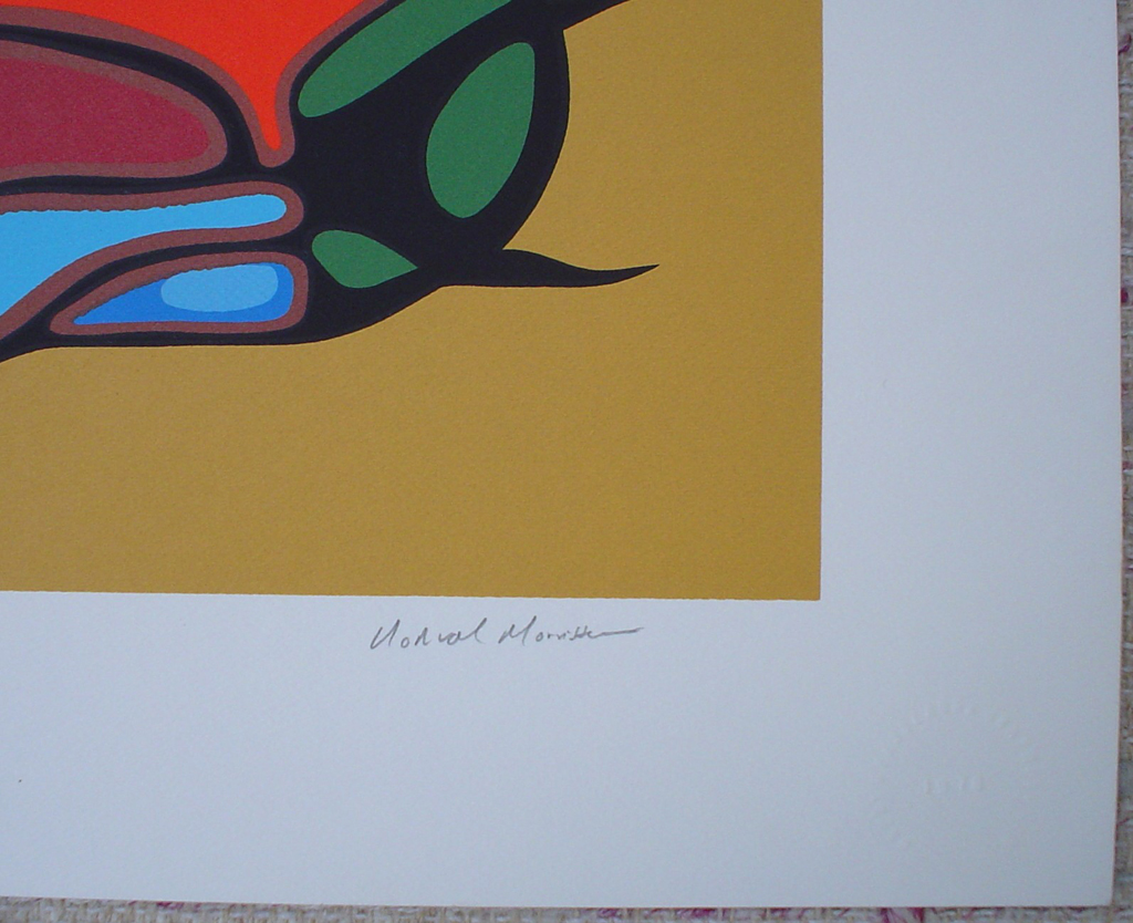 The Gathering by Norval Morrisseau, detail to show artist signature - original limited edition serigraph/silkscreen, titled, numbered 465/500 and signed by artist with butterfly remarque under title, sheet size 24x30 inches/ 61x76cm, circa 1980 (KerrisdaleGallery.com)