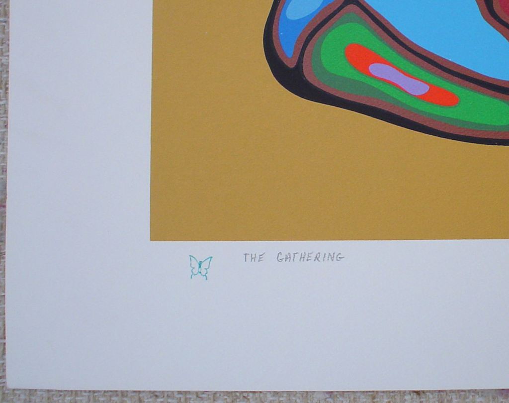 The Gathering by Norval Morrisseau, detail to show title and butterfly remarque - original limited edition serigraph/silkscreen, titled, numbered 465/500 and signed by artist with butterfly remarque under title, sheet size 24x30 inches/ 61x76cm, circa 1980 (KerrisdaleGallery.com)