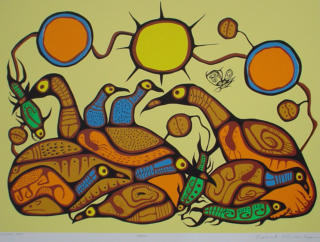 Spiritual Feast by Norval Morrisseau - original limited edition serigraph/silkscreen, titled, numbered 498/750 and signed by artist with butterfly remarque under title, sheet size 25x31 inches/ 63x80cm, circa 1977 (KerrisdaleGallery.com)