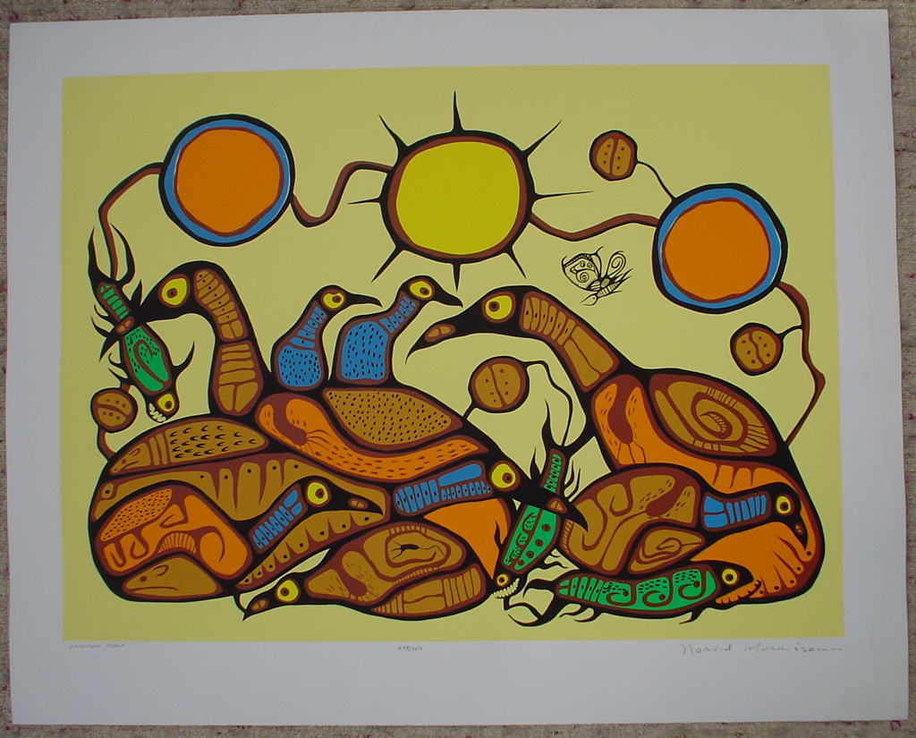 Spiritual Feast by Norval Morrisseau, shown with full margins - original limited edition serigraph/silkscreen, titled, numbered 498/750 and signed by artist with butterfly remarque under title, sheet size 25x31 inches/ 63x80cm, circa 1977 (KerrisdaleGallery.com)
