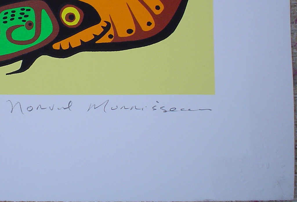 Spiritual Feast by Norval Morrisseau, detail to show artist signature - original limited edition serigraph/silkscreen, titled, numbered 498/750 and signed by artist with butterfly remarque under title, sheet size 25x31 inches/ 63x80cm, circa 1977 (KerrisdaleGallery.com)