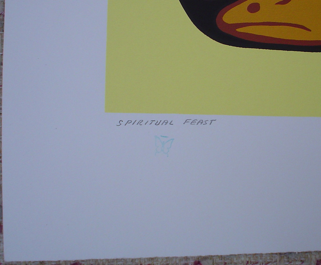 Spiritual Feast by Norval Morrisseau, detail to show title and butterfly remarque - original limited edition serigraph/silkscreen, titled, numbered 498/750 and signed by artist with butterfly remarque under title, sheet size 25x31 inches/ 63x80cm, circa 1977 (KerrisdaleGallery.com)