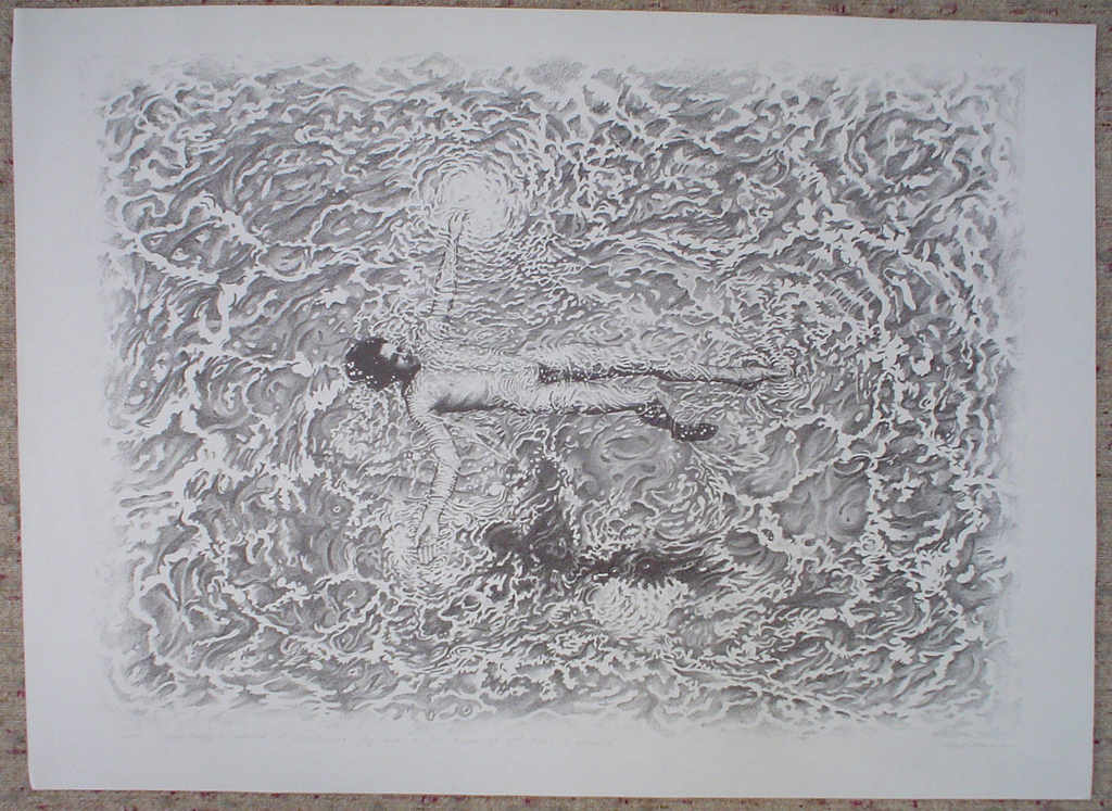 "(Floating Man) ""Only Today I Learned of Passionate Joy And Do Not Know As Yet What It Means"" by Robert Moon, shown with full margins - original limited edition lithograph, numbered 3/50, titled and signed by Robert Moon, created circa 1971, large sheet size, 28x38 inches/71x97cm (KerrisdaleGallery.com)"