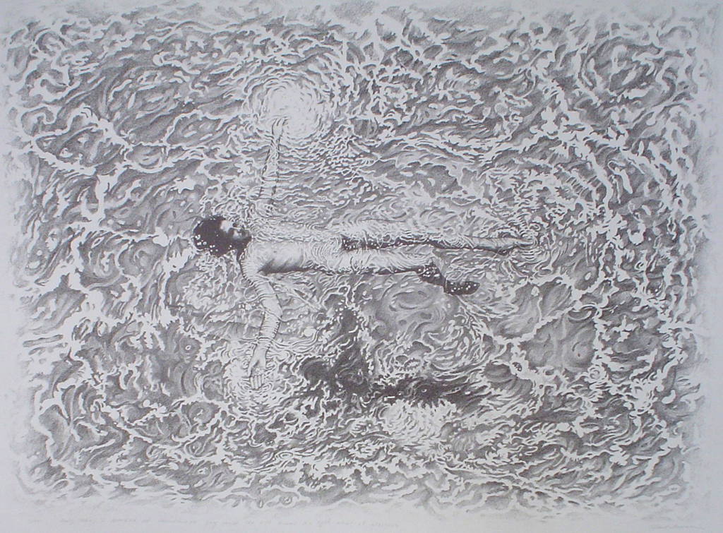 "(Floating Man) ""Only Today I Learned of Passionate Joy And Do Not Know As Yet What It Means"" by Robert Moon - original limited edition lithograph, numbered 3/50, titled and signed by Robert Moon, created circa 1971, large sheet size, 28x38 inches/71x97cm (KerrisdaleGallery.com)"