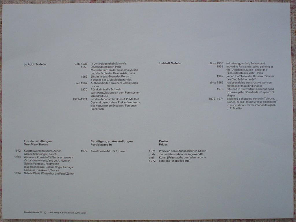 """Green Blue Waves Abstract (untitled) by Jo Adolf Nyfeler, to show accompanying Artist Biography - from """"Künstlerkalendar '75"""" , an oversized calendar featuring original serigraphs from 13 European artists, © 1975 Verlag F. Bruckmann KG, München (Bruckmann Publishing, Munich)"""