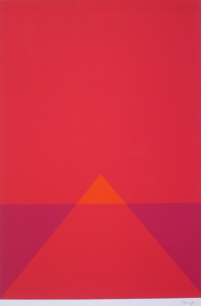 "Red Pyramid Abstract (untitled) by Fritz Ruoff - 1975 original serigraph/silkscreen, signed in plate, one of 13 different serigraphs from ""Künstlerkalendar '75"" , an oversized calendar featuring original serigraphs from 13 European artists, © 1975 Verlag F. Bruckmann KG, München (Bruckmann Publishing, Munich)"