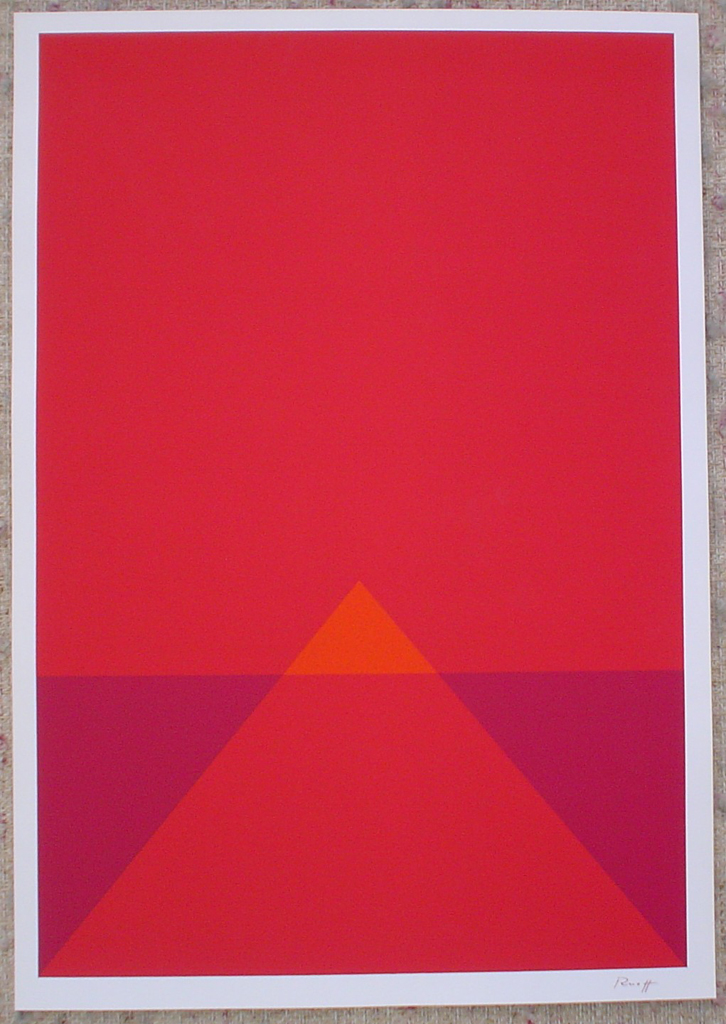 "Red Pyramid Abstract (untitled) by Fritz Ruoff, shown with full margins - 1975 original serigraph/silkscreen, signed in plate, one of 13 different serigraphs from ""Künstlerkalendar '75"" , an oversized calendar featuring original serigraphs from 13 European artists, © 1975 Verlag F. Bruckmann KG, München (Bruckmann Publishing, Munich)"