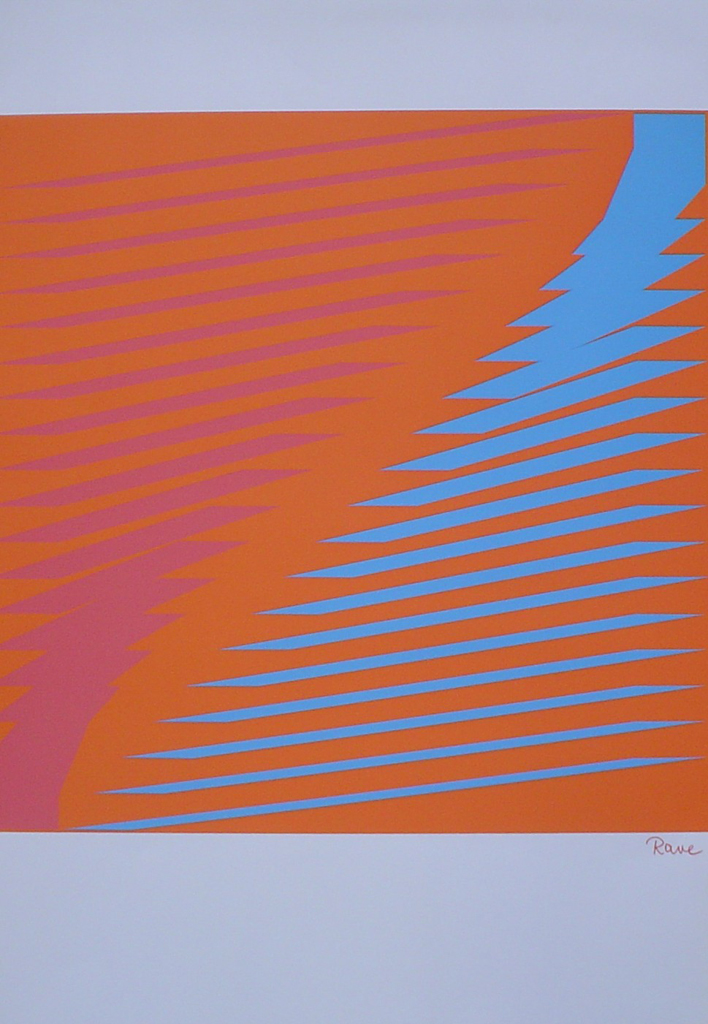 "Turquoise Orange Jagged Lines Abstract (untitled) by Horst Rave - 1975 original serigraph/silkscreen, signed in plate, one of 13 different serigraphs from ""Künstlerkalendar '75"" , an oversized calendar featuring original serigraphs from 13 European artists, © 1975 Verlag F. Bruckmann KG, München (Bruckmann Publishing, Munich)"