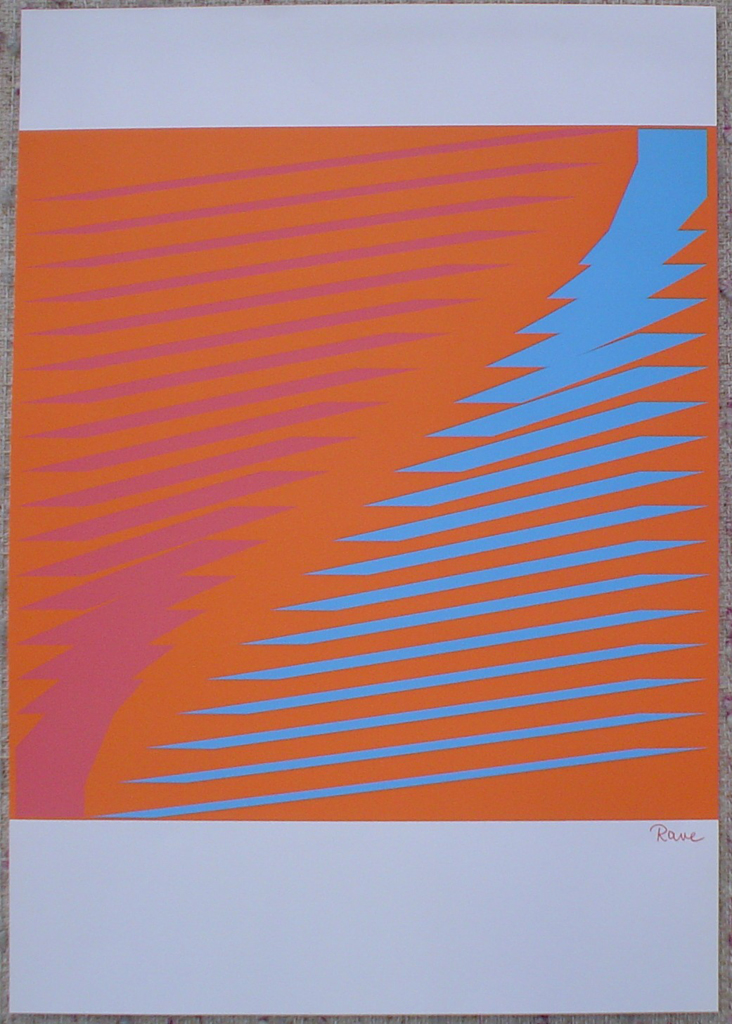 "Turquoise Orange Jagged Lines Abstract (untitled) by Horst Rave, shown with full margins - 1975 original serigraph/silkscreen, signed in plate, one of 13 different serigraphs from ""Künstlerkalendar '75"" , an oversized calendar featuring original serigraphs from 13 European artists, © 1975 Verlag F. Bruckmann KG, München (Bruckmann Publishing, Munich)"