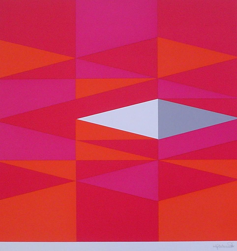 "Red Diamonds Abstract (untitled) by Karl Georg Schmidt - 1975 original serigraph/silkscreen, signed in plate, one of 13 different serigraphs from ""Künstlerkalendar '75"" , an oversized calendar featuring original serigraphs from 13 European artists, © 1975 Verlag F. Bruckmann KG, München (Bruckmann Publishing, Munich)"