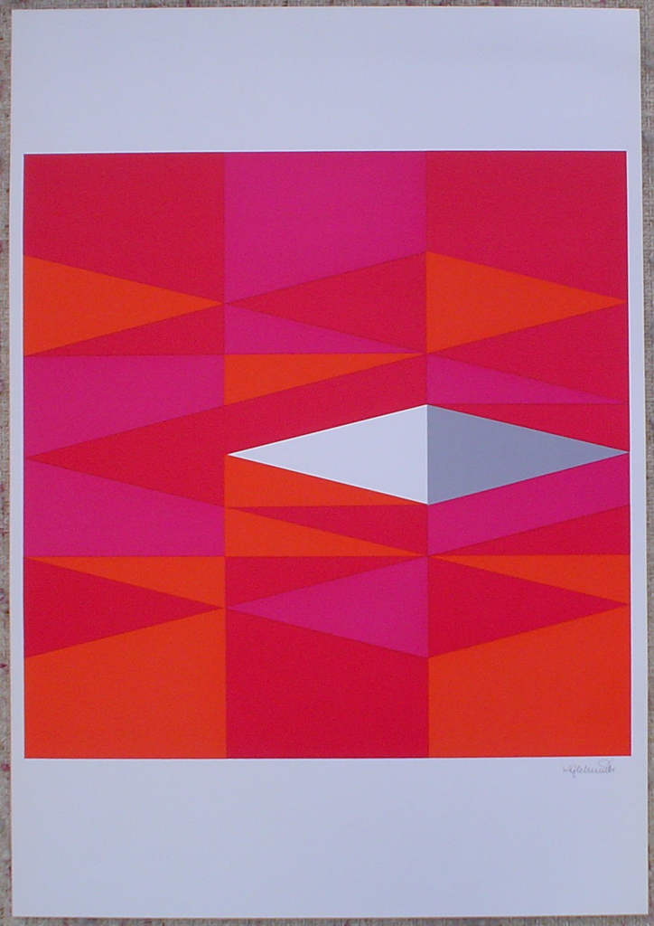 "Red Diamonds Abstract (untitled) by Karl Georg Schmidt, shown with full margins - 1975 original serigraph/silkscreen, signed in plate, one of 13 different serigraphs from ""Künstlerkalendar '75"" , an oversized calendar featuring original serigraphs from 13 European artists, © 1975 Verlag F. Bruckmann KG, München (Bruckmann Publishing, Munich)"