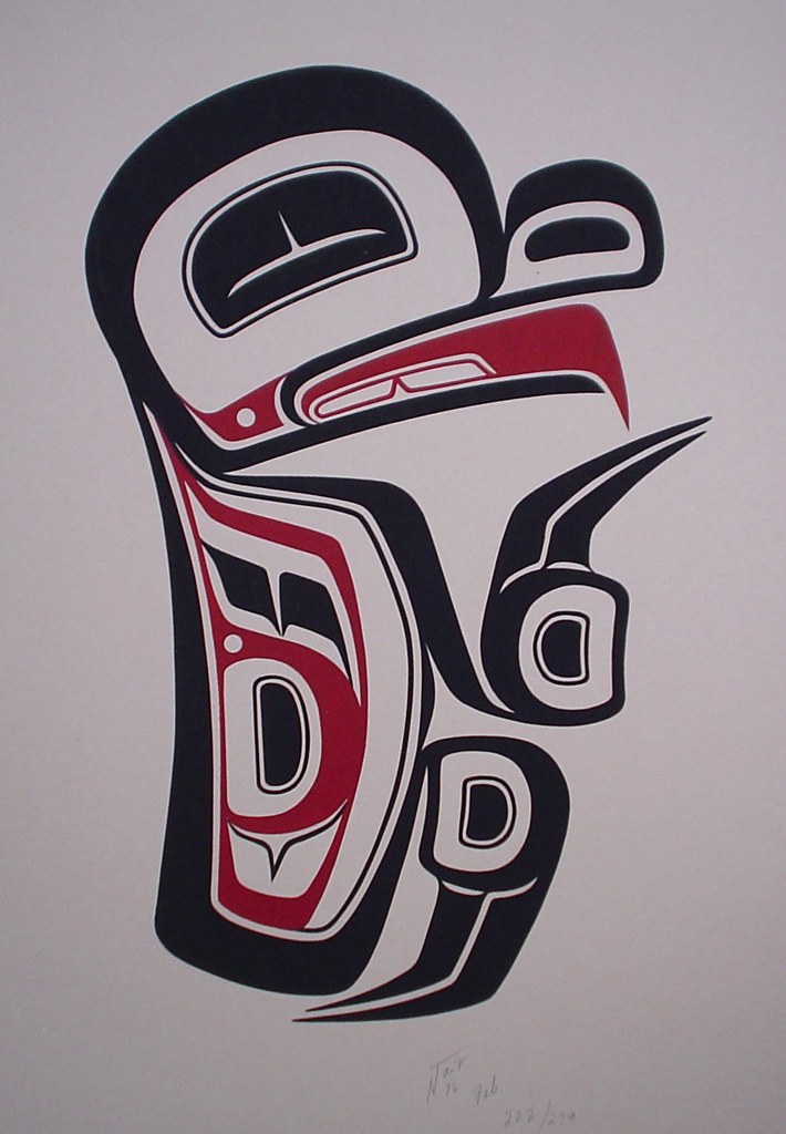 Frog by Norman Tait, Nisga'a Northwest Coast Canadian Native - vintage 1976 original print limited edition serigraph/silkscreen - in lower right image area in pencil by artist: signed N Tait, dated Feb '76, numbered 202/279 - sheet size 20x13 inches/51x33 cm (KerrisdaleGallery.com)