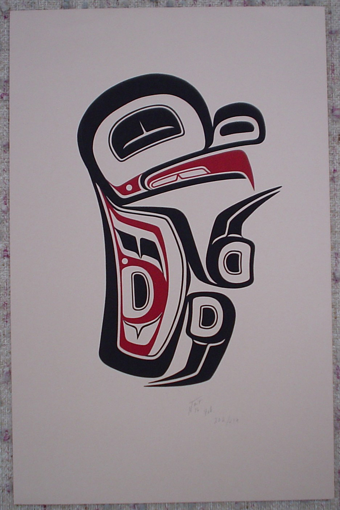 Frog by Norman Tait, Nisga'a Northwest Coast Canadian Native, shown with full margins - vintage 1976 original print limited edition serigraph/silkscreen - in lower right image area in pencil by artist: signed N Tait, dated Feb '76, numbered 202/279 - sheet size 20x13 inches/51x33 cm (KerrisdaleGallery.com