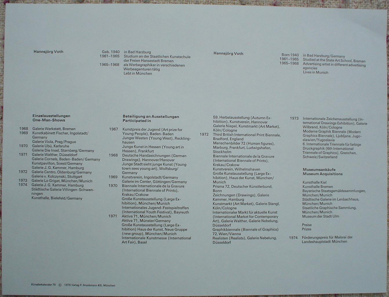 "Gray Stitched Shape Abstract (untitled) by Hannsjörg Voth, to show accompanying Artist Biography - from ""Künstlerkalendar '75"" , an oversized calendar featuring original serigraphs from 13 European artists, © 1975 Verlag F. Bruckmann KG, München (Bruckmann Publishing, Munich)"